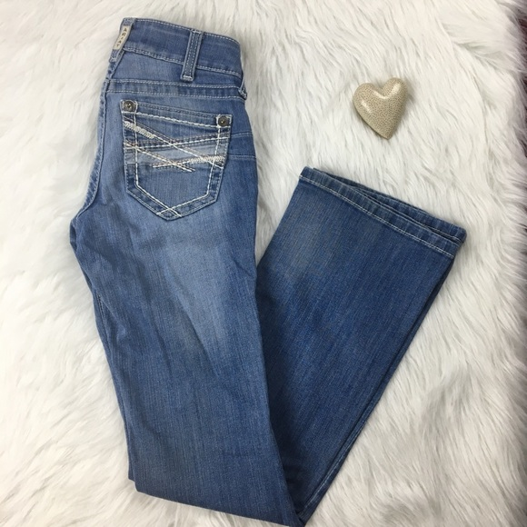 Ariat   embroidered pocket stretch bootcut jeans